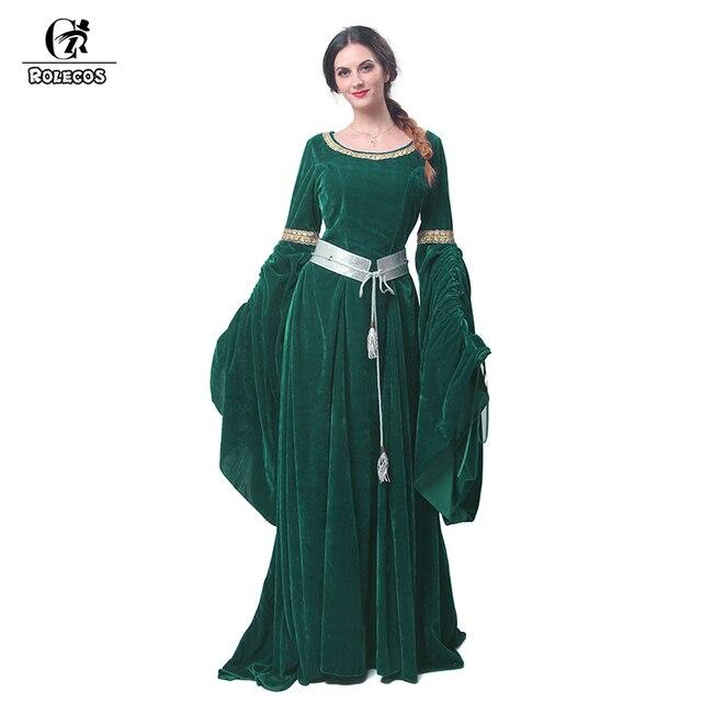4b48786bedb8 ROLECOS Nuovo Arrivo Nero Verde e Viola delle Donne di Halloween Vestito  Lungo Vintage Abiti di