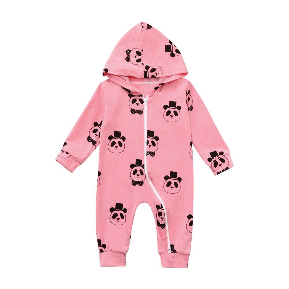 2019 Mode Brand Pasgeboren Cartoon Panda Hooded Jumpsuit Peuter Baby Baby Jongens Romper Lange Mouw Jumpsuit Speelpakje Outfits Kleding Om Gezondheid Effectief Te Stimuleren