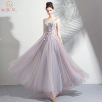 Walk Beside You Colorful Prom Dresses V neck Tank Transparent Lace Tulle Beaded Floor Length Long Lace Up Back Evening Gown 2018