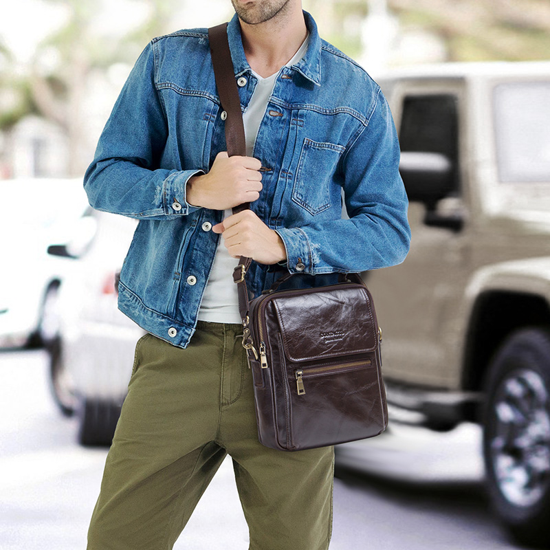 """Image 2 - CONTACT'S new genuine leather messenger bag for men casual shoulder bags male flap bag luxury brand crossbody bags for 9.7"""" Ipad-in Crossbody Bags from Luggage & Bags"""