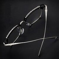 Metal engraving Hand made men frame women glasses unisex alloy eyeglasses popular eyewear myopia reading with original case