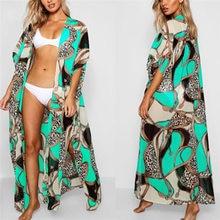 2019 Long Print Beach Cover up Pareos de Playa Mujer Beach Wear Plus size Bikini Cover up Robe Plage Sarong Beach Tunic #Q700