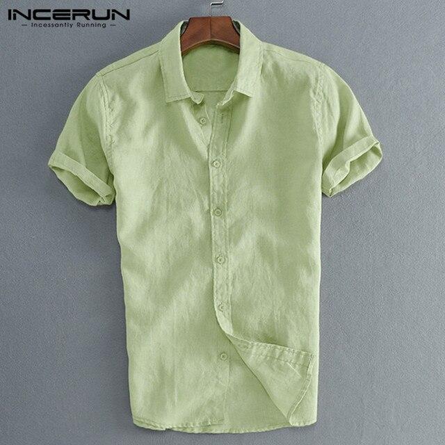 INCERUN Elegant S-5XL Male Tee Tops Casual Shirts Men Social Shirts Dress Button Turn Down Collar Slim Fit Men Clothes Camisa 2