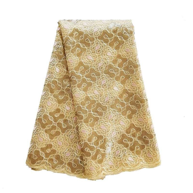 2019 High Quality African Sequin Organza Lace Fabric Gold French Tulle Embroidery Lace Fabric with Sequins for Women Dress