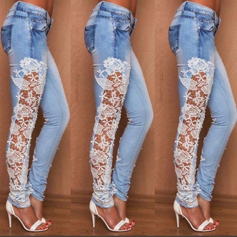 Women Stretch Lace Floral Side Spliced Denim Trousers Hollow Out Slim Pencil Pants Women Jeans Femme Pantalo
