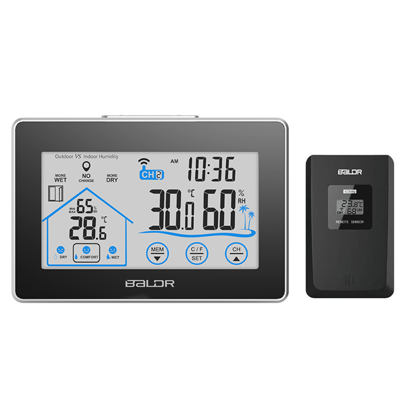 Baldr Indoor Outdoor Thermometer Wireless Humidity Temperature Gauge Monitor Large LCD Touch Screen Display Digital Hygrometer