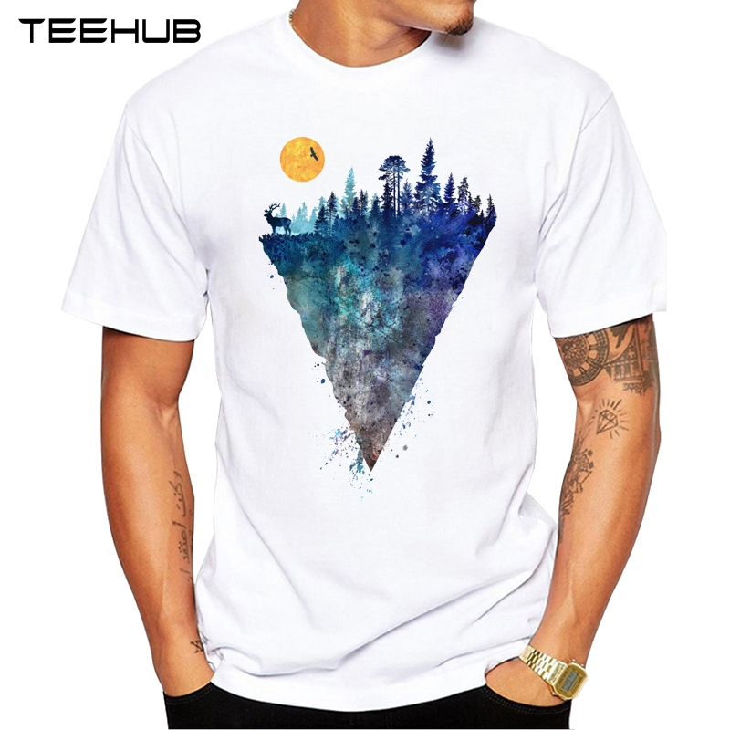 2019 TEEHUB Men's Fashion Sunrise Eagle Forest Printed T-Shirt Short Sleeve Novelty Design Tops Cool Tee