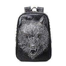 Волчья Голова женщины рюкзак Дизайнер Высокое качество PU кожаные рюкзаки для девочек-подростков SAC основной женские школьные сумки сумка