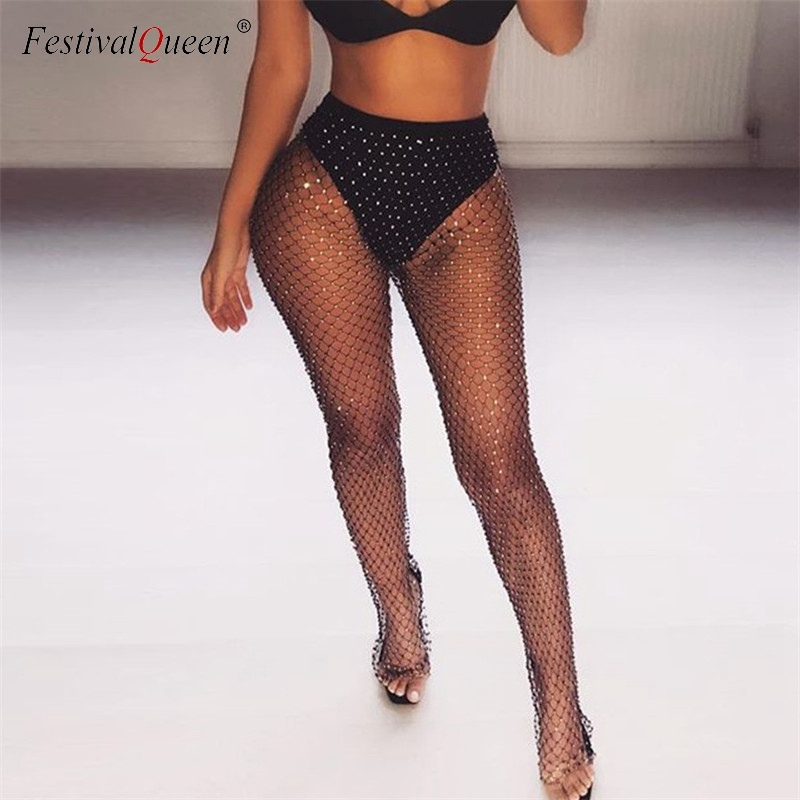 Crystal Rhinestones Diamonds Fishnet Sexy Tunic Pants Women Long Bottoms  Mesh Hollow Out Transparent Beach Club Party Trousers dc4e44161284