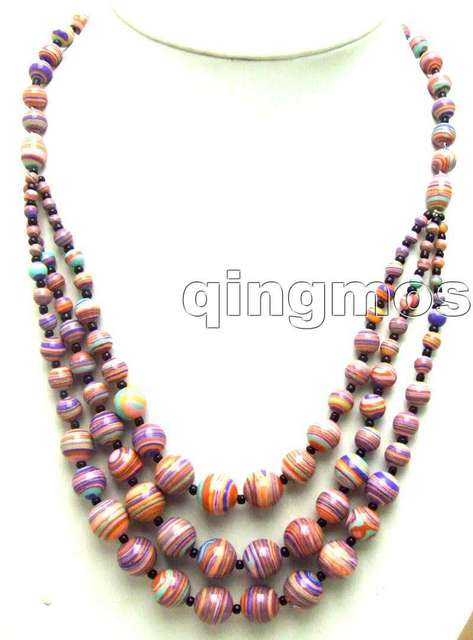 "SALE Noblest Long 20"" Big 4 to 12mm Round Purple and Red zebra stripe Agate 3 string Necklace-nec5701 Wholesale/retail Free ship"
