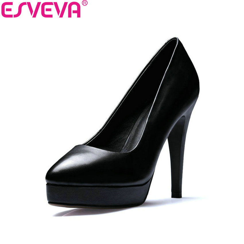 ESVEVA 2018 Women Pumps Thin/Square High Heel Slip on Classic Platform PU+Cow Leather All Match Office Ladies Shoes Size 34-39 hot sale air compressor cylinder head piston air compressor head piston air compressor head