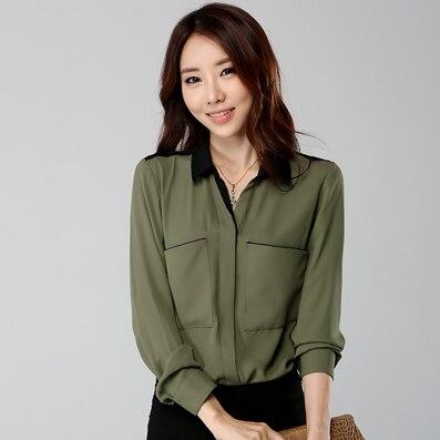Blusas Feminina Hot Sale Plus Size Blusas 2017 blouse femme Stitching Cotton Shirt Pocket Large Women's Shirts Xxxxl