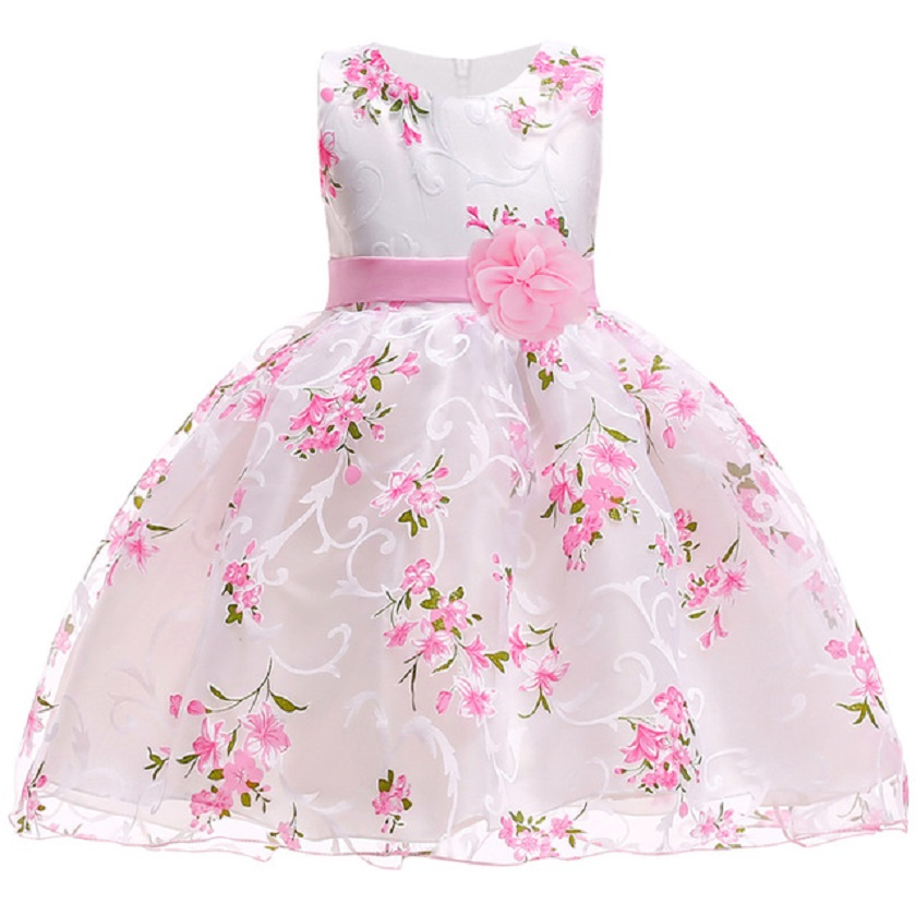Kids Wedding Gown Flower Girls Dress 2018 Summer Elegant Floral Baby Girls Princess Dress For Girls Party Dress Children Clothes