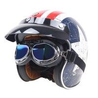Couro coberto 5 availabel cor capacete óculos de proteção para o rosto descoberto metade da motocicleta da cara do capacete da motocicleta do vintage glasswear