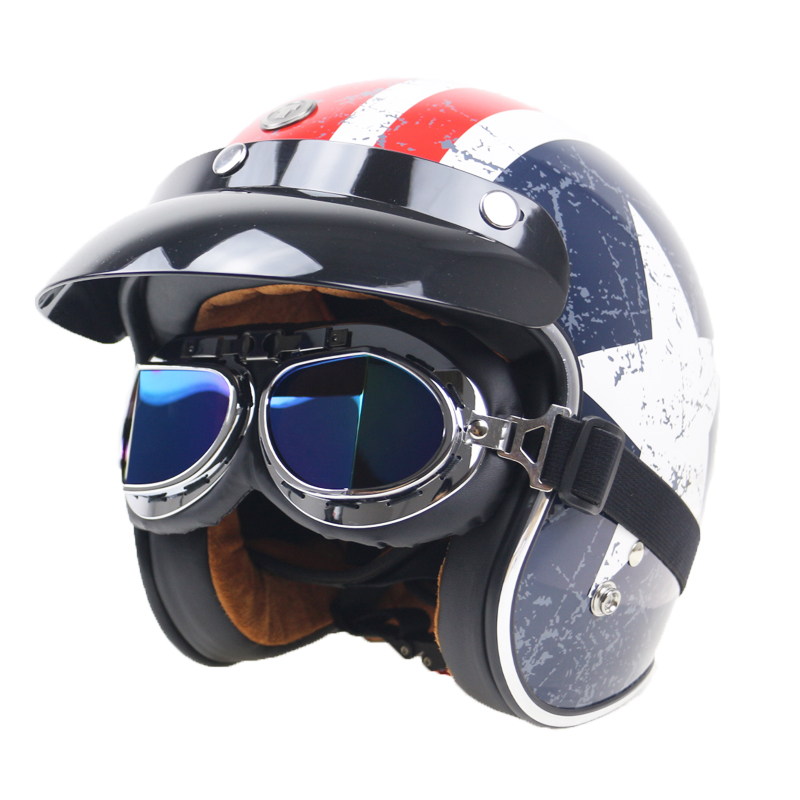 Leather covered 5 color availabel helmet goggle for open face half face motorcycle helmet vintage motorcycle glasswear|helmet goggles|goggle for helmet|motorcycle goggles vintage - title=