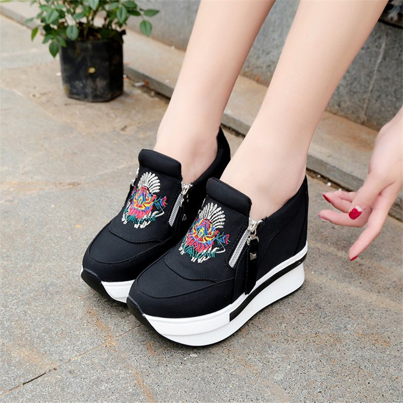 Breather Women Canvas Shoes Height Increasing Platform Sneakers Women Shoes 2019 Fashion Sneakers Female Wedges Shoes For Women Сникеры