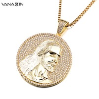 VANAXIN Jesus Image Christianity Pendant Necklace Gold/Silver Color Statement Punk Jewelry For Men Women Crucifix Paved AAA CZ