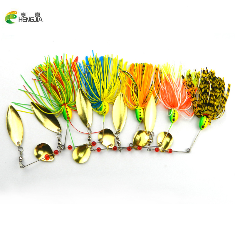HENGJIA Lot 5pcs 4colors 16.3g spiner bait fishing bait Spoon Lure for tackle spiner blades 3D eyes PS green paint