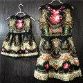 Brand fashion black print spleated mother and daughter party dresses girls mother sundresses children Sleeveless Umbrella skirts