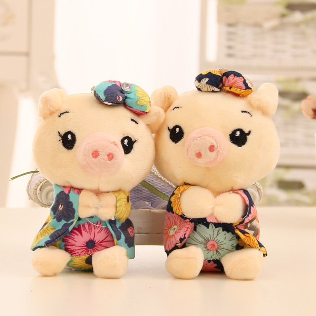 10cm Cartoon bouquet of plush pig doll wedding present children toy phone key pendant mini Cartoon toys Kids Gift soft Animals