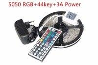 5050 rgb ledストリップ非防水/防水5メートル300 ledストリップライトフィッタledストリング+ 44キーirリモート+ dc 12ボルト3a電源キッ
