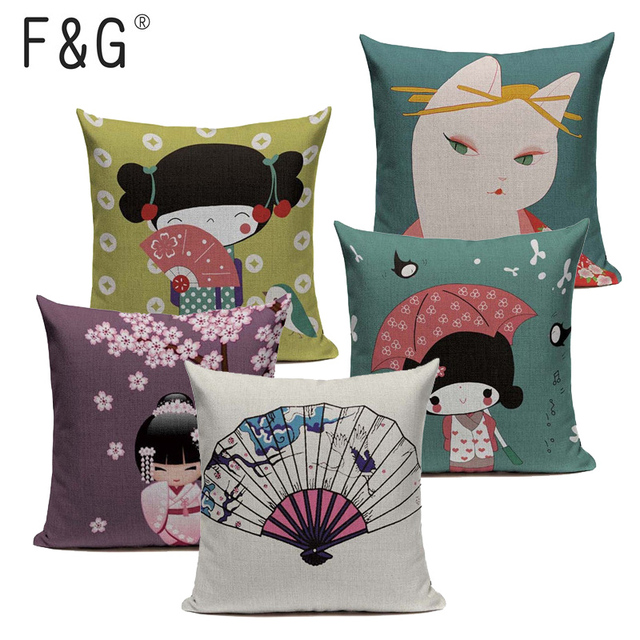 Японский хлопок лен с рисунком наволочка креативное кимоно Fuji Девушка Морская волна декоративная подушка, домашний декор Диван Подушка