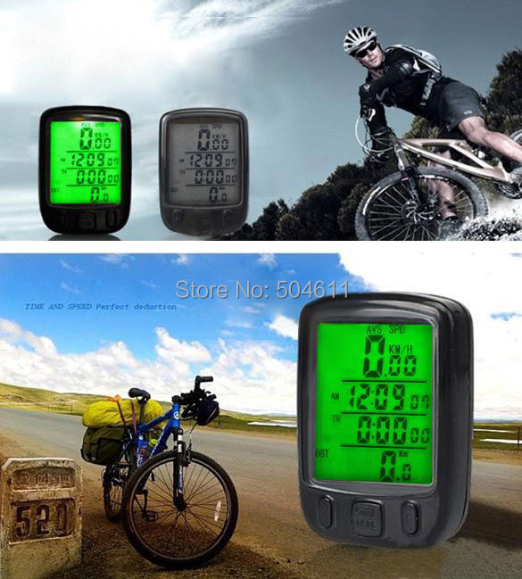 Free Shipping SunDing Cycling Accessories LCD Digital Waterproof Noctilucent Bicycle Bike Computer Speedometer 24 Function