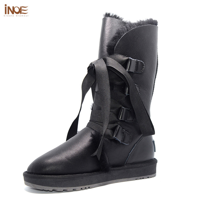 c2977d52056a Fashion sheepskin leather sheep wool fur lined women winter snow boots for  lady lace-up boots black waterproof non-slip