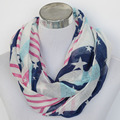 Free Shipping ladies'  white star striped l infinity scarf  accessories gift