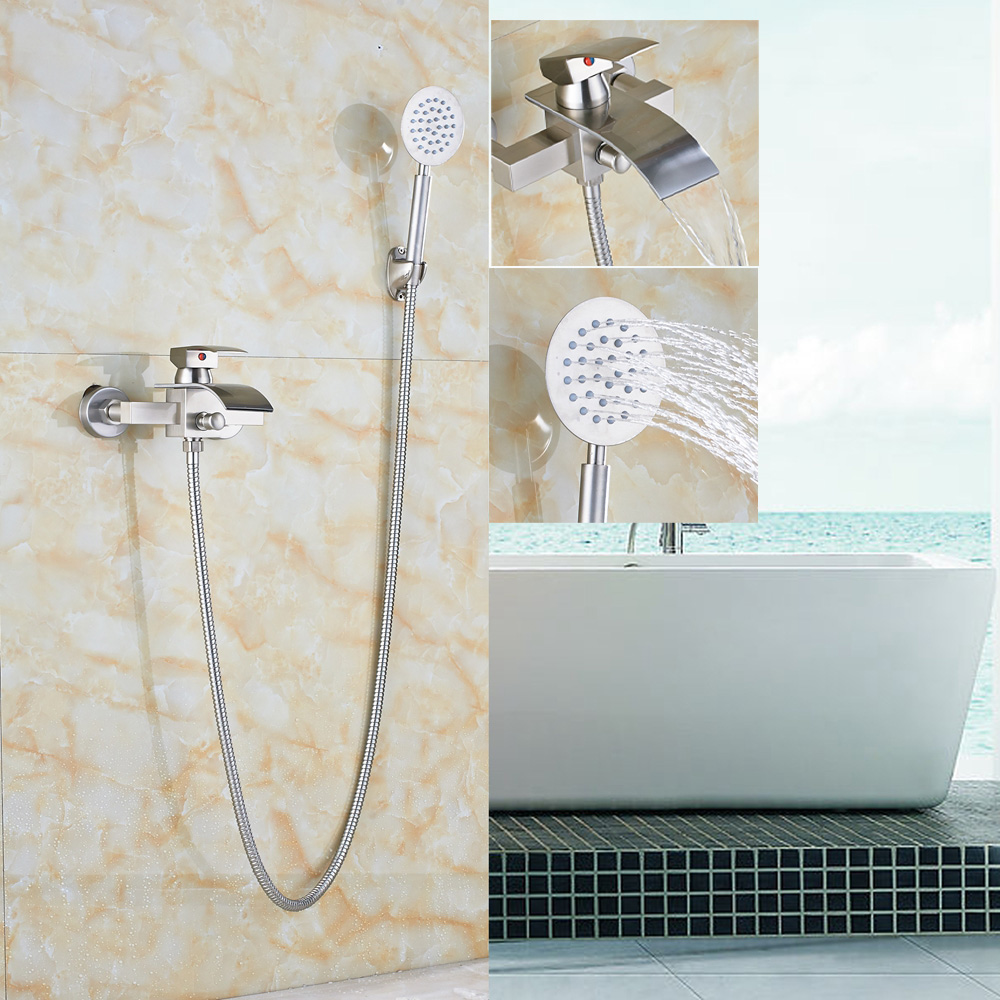 Brushed Nickel Bathtub Faucet Wall Mount One Handle Mixer Tap+Hand Shower Sprayer цены