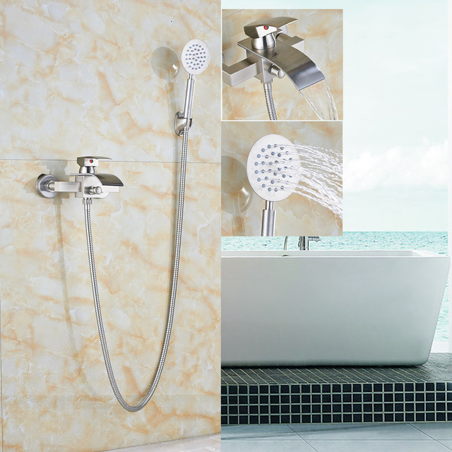 Aliexpresscom Buy Brushed Nickel Bathtub Faucet Wall Mount One