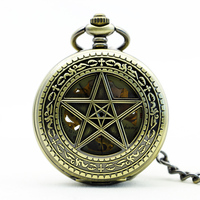 Classic Five Pointed Star Hollow Bronze Clamshell Vintage Fully Automatic Mechaincal Pocket Watch Man Women Creative