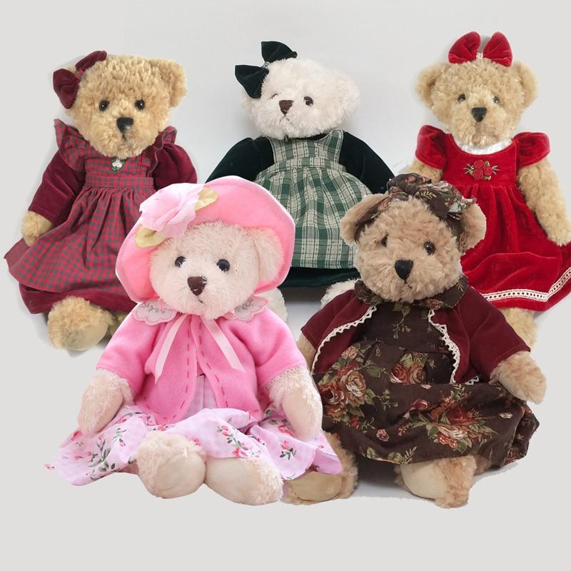1PCS 40CM Wear Dress Teddy Bear Stuffed Animals Plush Toys Dolls Birthday Gifts For Kids Teddy Bear With Cloth Plush Toys