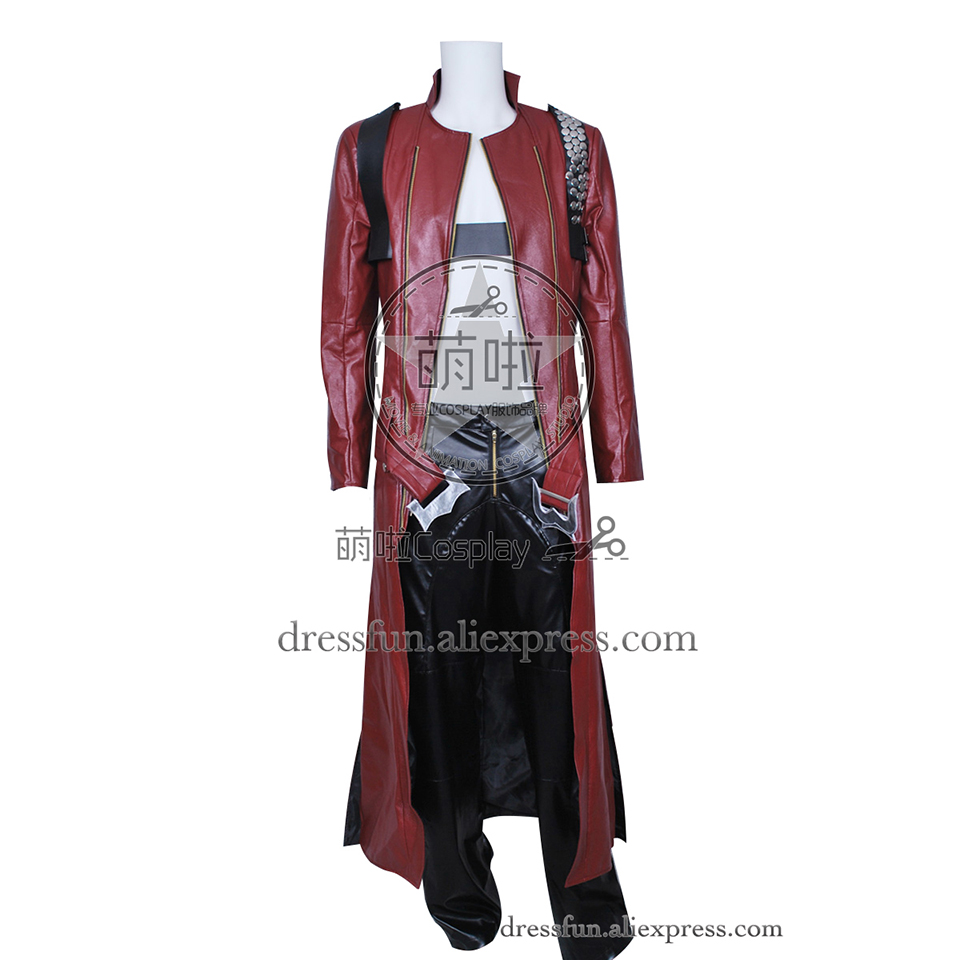 Devil May Cry 3 Cosplay Dante Costume Fashion Suit Outfits Halloween Fashion Party Fast Shipping Popular Jacket Coat Leather