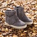 Meninas de couro genuíno franja botas de Metal decoração botas de inverno da criança grosso princesa quente crianças botas TX155