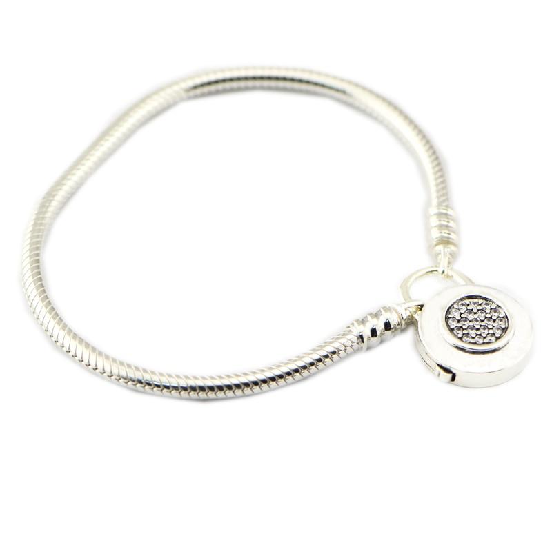100% 925 Sterling Silver Jewelry Momenti Liscia Bracciale In Argento con Firma Lucchetto Braccialetti per le Donne di DIY Misura Branelli di Fascino