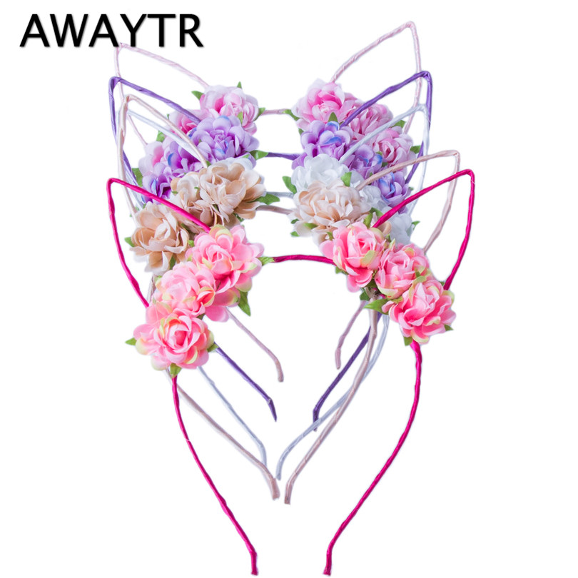 AWAYTR Cute Cat Ears Hairbands for Women Girls Flower Hair Hoops Party Headband Wedding   Headwear   Tiaras Girls Hair Accessories