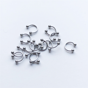 UVW037 Trendy Surgical Steel C Shape Segment Tragus Fake Septum Nose Rings Stud Helix Piercing Body Jewelry 3