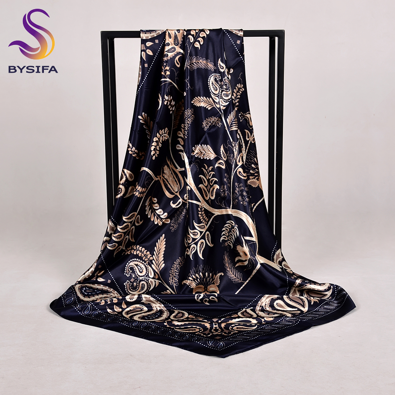 [BYSIFA] New Women Satin Silk Scarf Shawl Fashion Accessories Brand Navy Blue Large Square Scarves Muslim Head Scarf Foulard