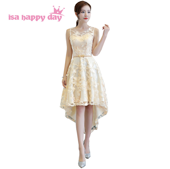 champagne colored teen dress formal o neck high low tea party short pretty special  occasion homecoming 714971555ab3
