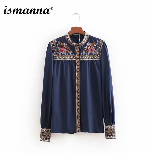 2018 New Women Retro Floral Embroidery Blouse Long Sleeve Stand Collar Shirts Female Office Wear Vintage Chic Tops Ladies Blusas