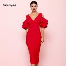 Seamyla 滑走路ミディドレス 新しい夏のエレガントな女性のセクシーなイブニングパーティードレス花びらスリーブ vestidos