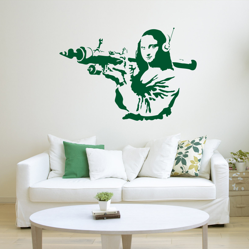 BANKSY Gioconda Terrorist WALL STICKER Home Decor Street Art Vinyl Decals Removable Mural Decals House Decoration in Wall Stickers from Home Garden