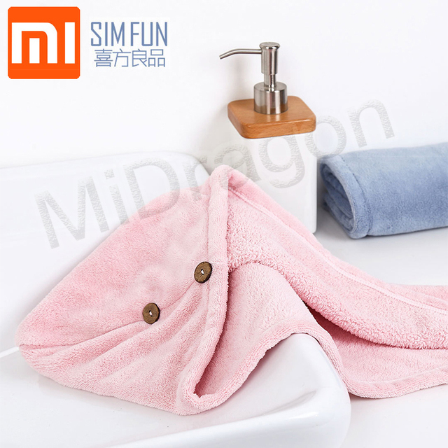 Xiaomi Mijia Women Bathroom Super Absorbent Quick drying Polyester with Cotton Bath Towel Hair Dry Cap Salon Towel 24x64cm