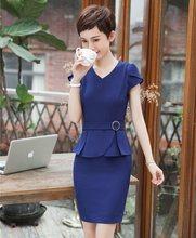 4bd52085c Mujeres de Negocios Trajes 2 unidades falda y Top Sets azul chaqueta de  manga corta Oficina