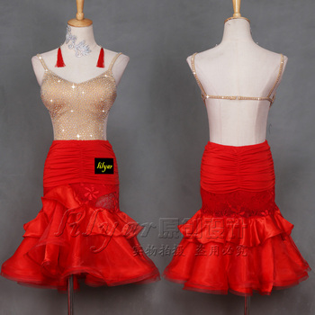 Latin dance costume Red Jumpsuit two piece