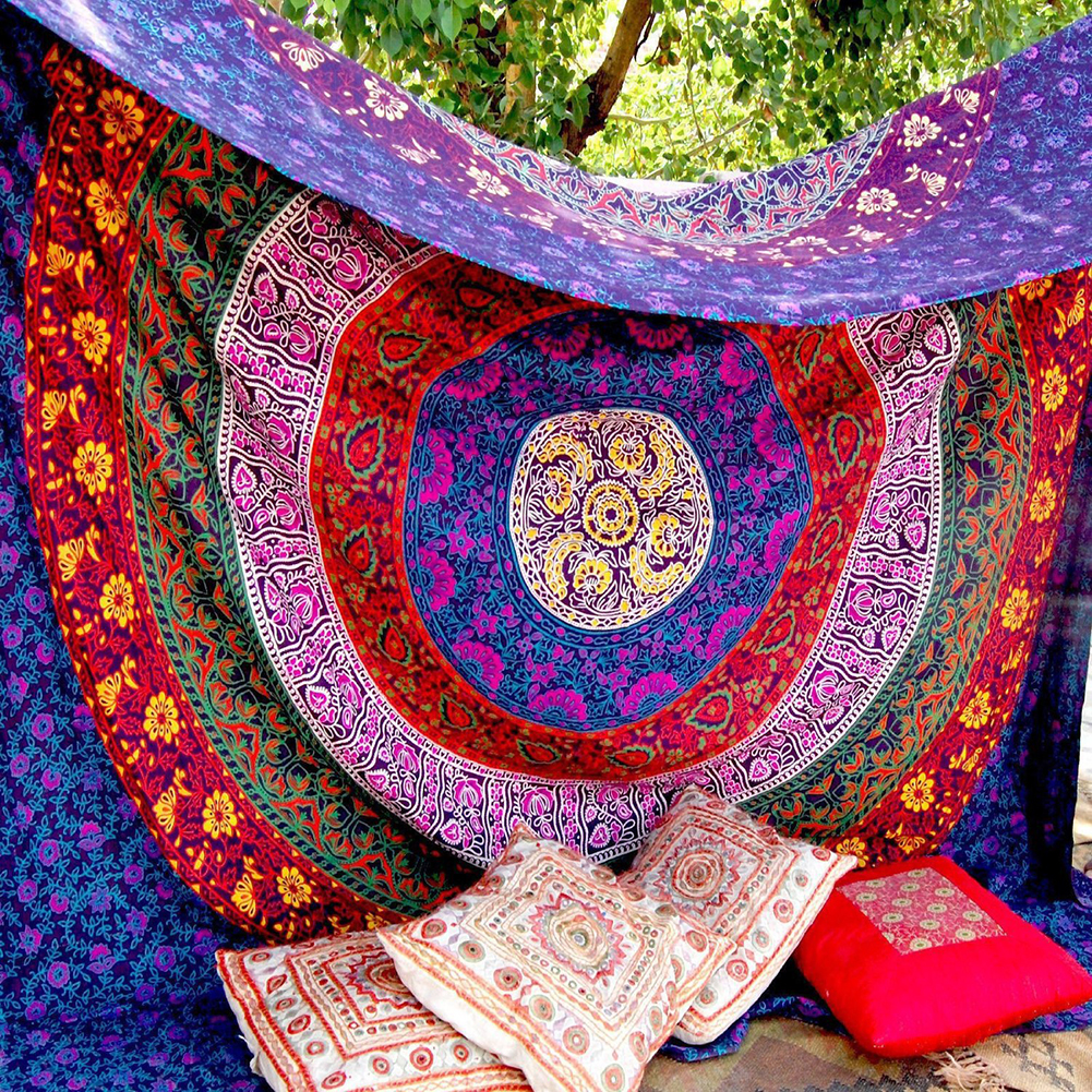 Nuovo Grande Mandala Indiano Della Boemia Parete Arazzo Appeso Scialle Telo Mare Poliestere Coperta Sottile Yoga Mat 180x146 cm