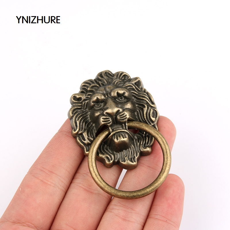 2018 New Furniture Handles 10pcs 43 * 67mm Beast for Lion Head Antique Alloy Handle Wardrobe Drawer Door Pull Retro Decoration entrance door handle solid wood pull handles pa 377 l300mm for entry front wooden doors