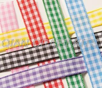 120 yards 10mm wide Gingham Ribbon, Check Ribbon, By the yard multiple colors mix set