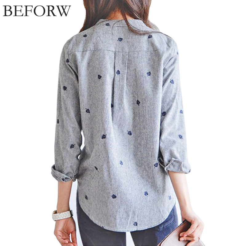 BEFORW Women Blouse Fashion Casual Stripes Tops Plus Size Women Clothing Embroidery Cardigan Blouses Long Sleeves Women Clothes